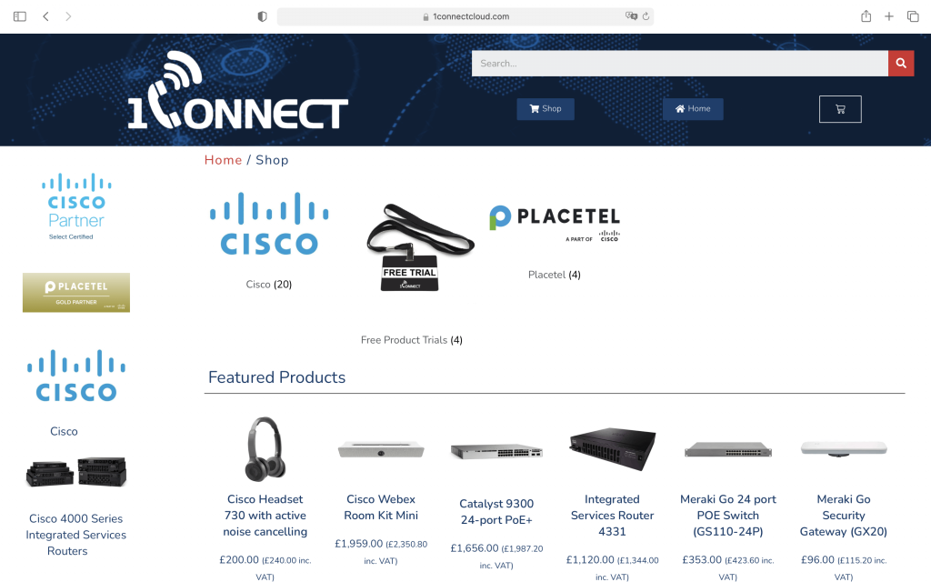 1Connect Shop Homepage