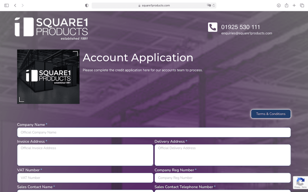 Square 1 products - credit app