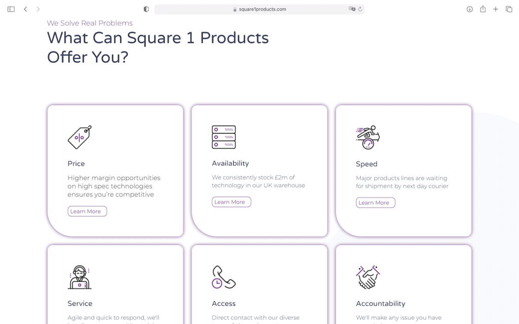 Square 1 products - services