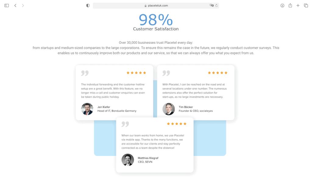 placetel uk - customer satisfaction
